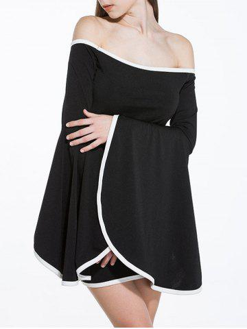 Cheap Off Shoulder Flare Sleeve Two Tone Dress - M BLACK Mobile