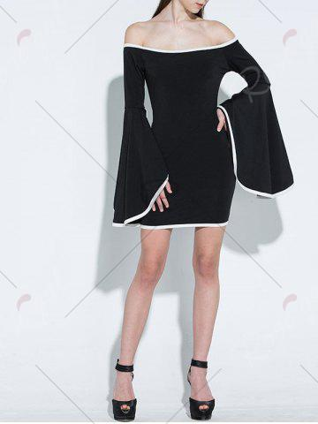 Outfit Off Shoulder Flare Sleeve Two Tone Dress - M BLACK Mobile
