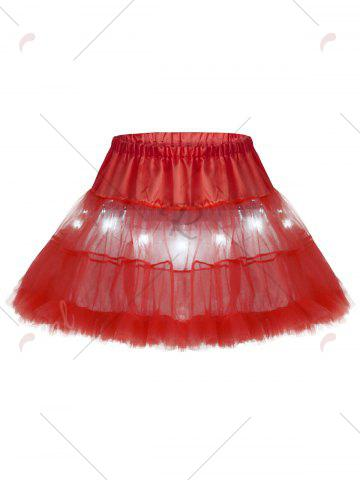 Buy Light Up Ruffles Tutu Voile Cosplay Skirt - ONE SIZE RED Mobile