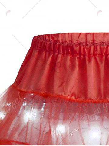 Unique Light Up Ruffles Tutu Voile Cosplay Skirt - ONE SIZE RED Mobile