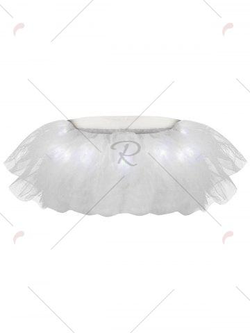 Sale Tier Mesh Light Up Tutu Cosplay Skirt - ONE SIZE WHITE Mobile