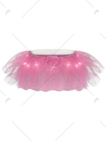 Affordable Tier Mesh Light Up Tutu Cosplay Skirt - ONE SIZE LIGHT PINK Mobile
