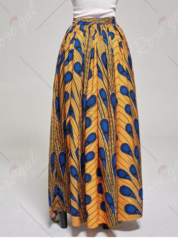 Outfit African High Waist Printed Skirt - L DEEP YELLOW Mobile