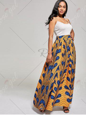 Trendy African High Waist Printed Skirt - L DEEP YELLOW Mobile