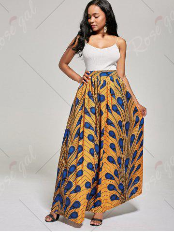 Chic African High Waist Printed Skirt - L DEEP YELLOW Mobile