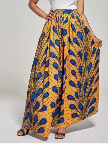 African High Waist Printed Skirt - Deep Yellow - M