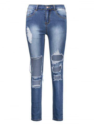 Ankle Length High Waisted Skinny Ripped Jeans - Deep Blue - 3xl