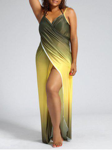 Latest Plus Size Ombre Wrap Cover Up Maxi Dress YELLOW XL