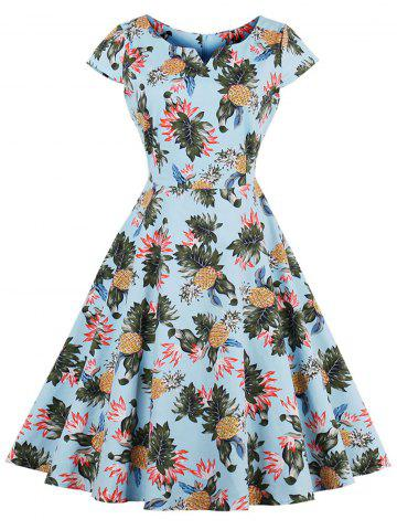 Unique Pineapple Print A Line Vintage Plus Size Dress LIGHT BLUE 2XL