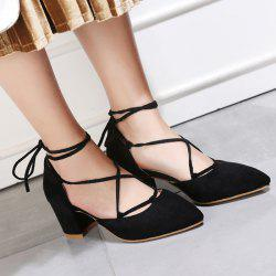 Point Toe Lace Up Pumps - BLACK