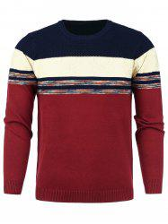 Color Block Panel Snowflake Knitted Sweater -