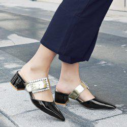 Patent Leather Rhinestone Buckle Mules Slide Sandals
