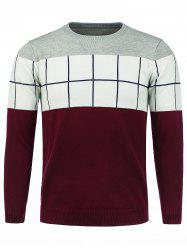 Color Block Panel Checked Crew Neck Sweater