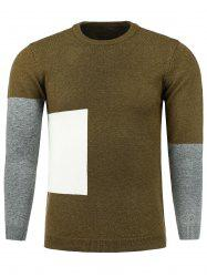 Color Block Panel Crew Neck Knitting Sweater