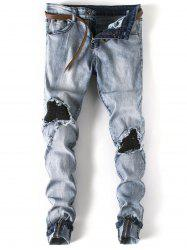 Skinny Zip Hem Distressed Jeans
