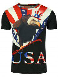 Short Sleeve 3D Eagle Graphic Print Patriotic T-shirt
