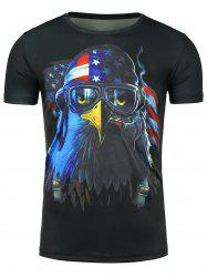 Short Sleeve 3D Eagle Print Patriotic T-shirt - BLACK XL