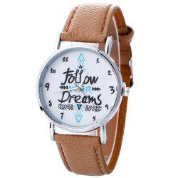 Follow Your Dreams Pattern Faux Leather Strap Watch - BEIGE