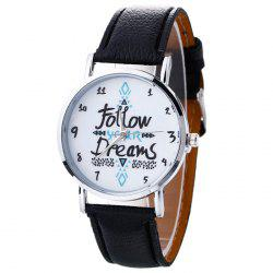 Follow Your Dreams Pattern Faux Leather Strap Watch - BLACK