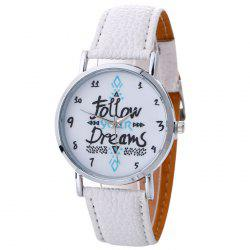 Follow Your Dreams Pattern Faux Leather Strap Watch