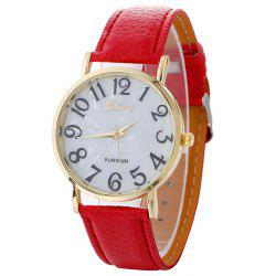 Marble Face Faux Leather Strap Number Watch - RED