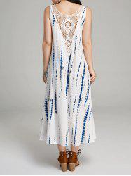 Lace Insert Back Sleeveless Print Maxi Dress - Blanc