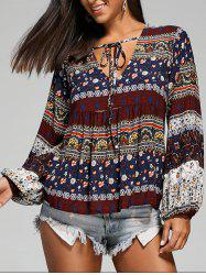 Empire Waist Plunging Long Sleeve Smock Blouse - M