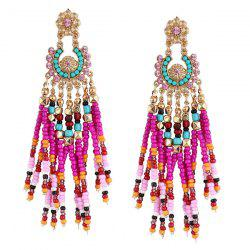 Flower Bohemian Beaded Tassel Earrings