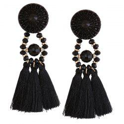 Resin Circle Beaded Tassel Earrings -