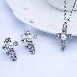 Rhinestoned Faux Pearl Cross Jewelry Set