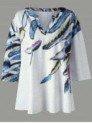 Drop Shoulder Leaves Print Plus Size Tee