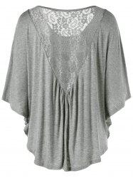 Lace Insert Butterfly Sleeve Plus Size T-Shirt - Gray - 3xl