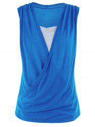 Casual Two Tone Surplice Sleeveless Top - BLUE XL