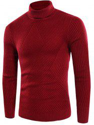Twill Knitting Turtle Neck Rib Design Sweater
