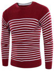 Striped Design Crew Neck Rib Panel Sweater - WINE RED 3XL