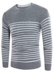 Striped Design Crew Neck Rib Panel Sweater