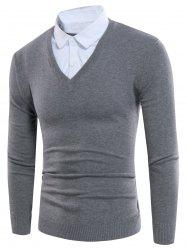 Knitting Shirt Collar Panel Faux Twinset Sweater -