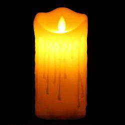Electronic Swing Pillar Shaped Large Candle Night Light - OFF-WHITE H15CM