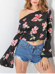 Flare Sleeve Floral Print One Shoulder Shirt