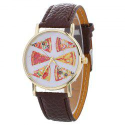 Faux Leather Strap Pizza Face Quartz Watch