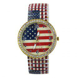American Flag Face Rhinestone Patriotism Watch
