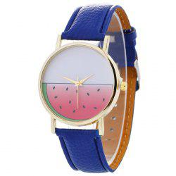Watermelon Face Faux Leather Strap Watch
