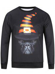 3D Hat and Dog Print Long Sleeve Sweatshirt