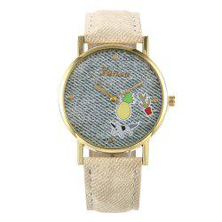 Cartoon Faux Leather Strap Quartz Watch