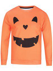 Long Sleeve Pumpkin Lamp Face Print Sweatshirt