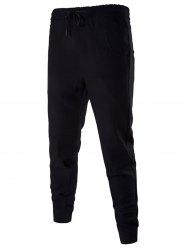 Cotton Blends Drawstring Beam Feet Jogger Pants - BLACK