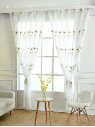 Sheer Tulle Floral Embroider Curtain For Living Room - WHITE