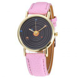 Solar System Face Faux Leather Strap Watch