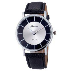 Simple Faux Leather Strap Analog Watch