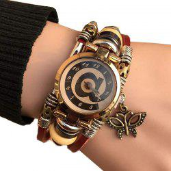 Faux Leather Strap Butterfly Number Bracelet Watch